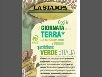 La Stampa - Oggi è la Giornata della TerraLa Stampa diventa il primoquotidiano verde d'Italia