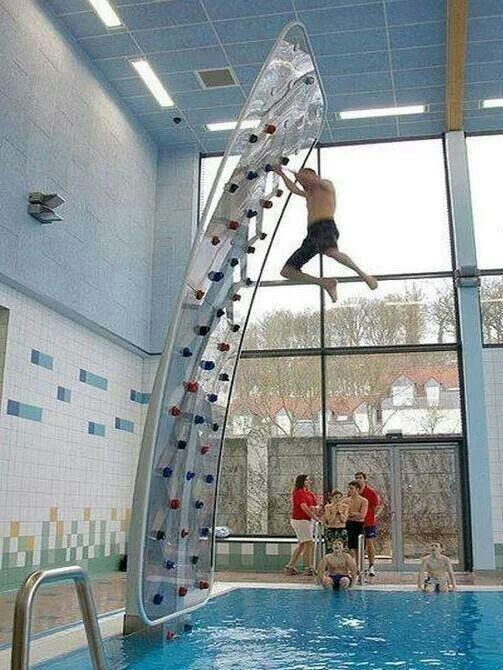 a wall climbing on a swimming pool things pinterest