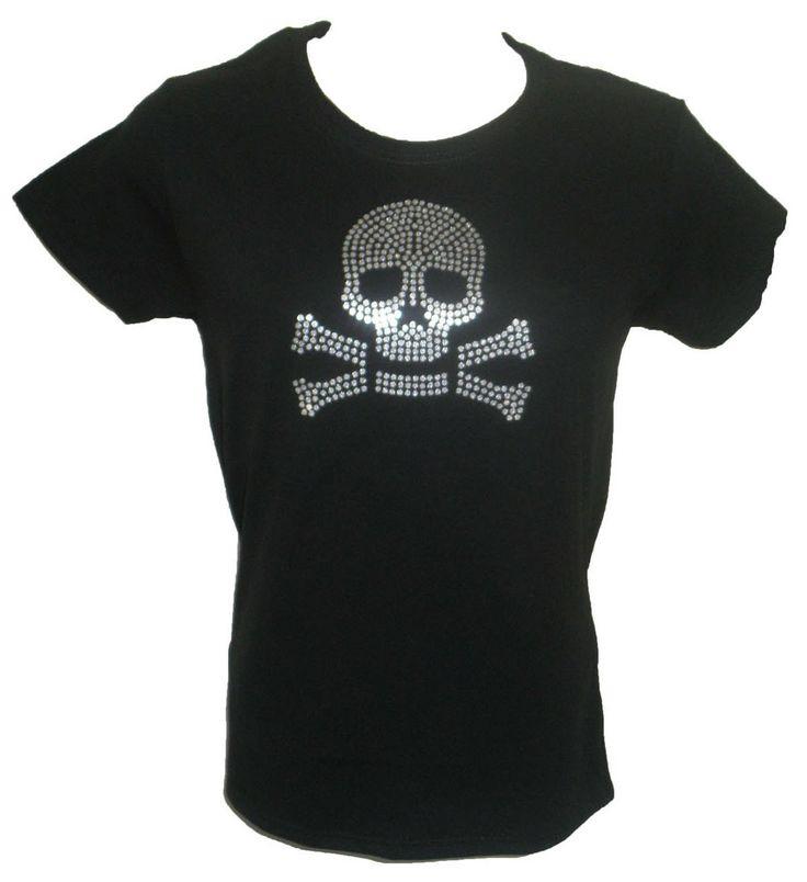 Glitter Skull Ladies T Shirt