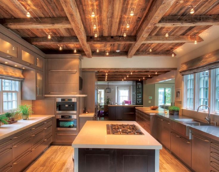 Barn wood ceiling home home sweet home pinterest for Wood ceiling kitchen ideas