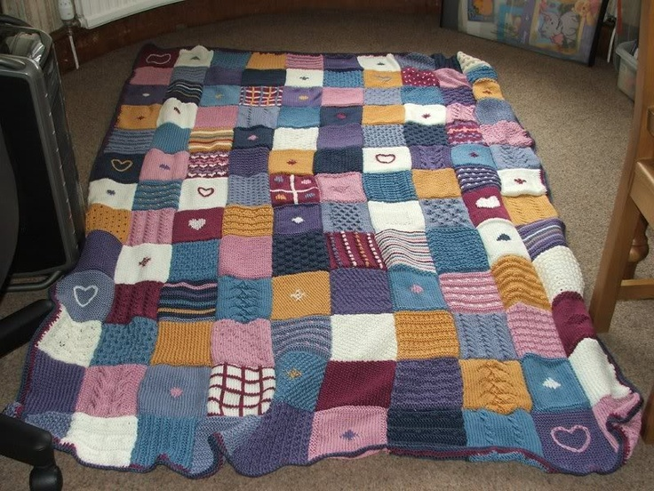 Knitting Pattern For A Patchwork Blanket : Pinterest