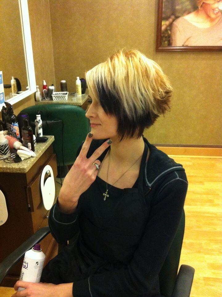 Plum violet color blonde hair short cut | Hair colors & nails by me