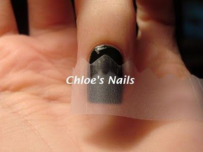 I was going for a semi-half moon mani, but with a little twist. So this is how I taped my nails off.  Then paint the base of the nail with a glitter polish.  www.chloesnails.blogspot.com