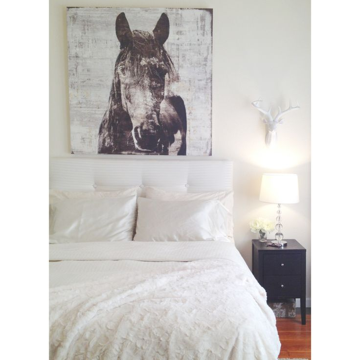 Winter Stallion and Deer head by Z Gallerie. White bedding, DIY tufted ...