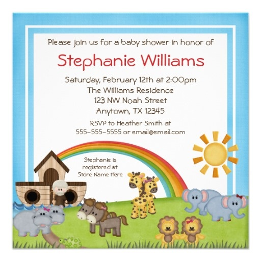 Whimsical Noah39;s Ark Baby Shower Invitations