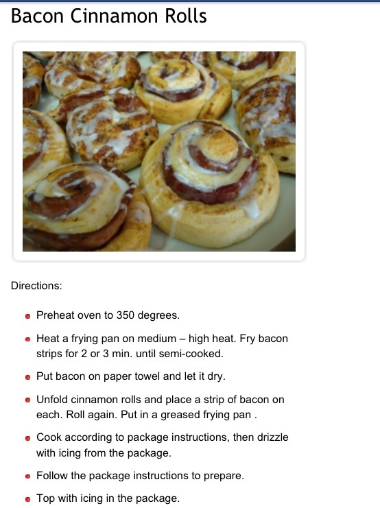 Bacon cinnamon rolls | Food to try | Pinterest