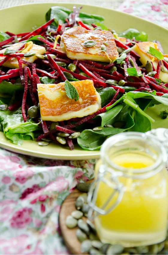 Grilled Halloumi Salad with Lemon Dressing