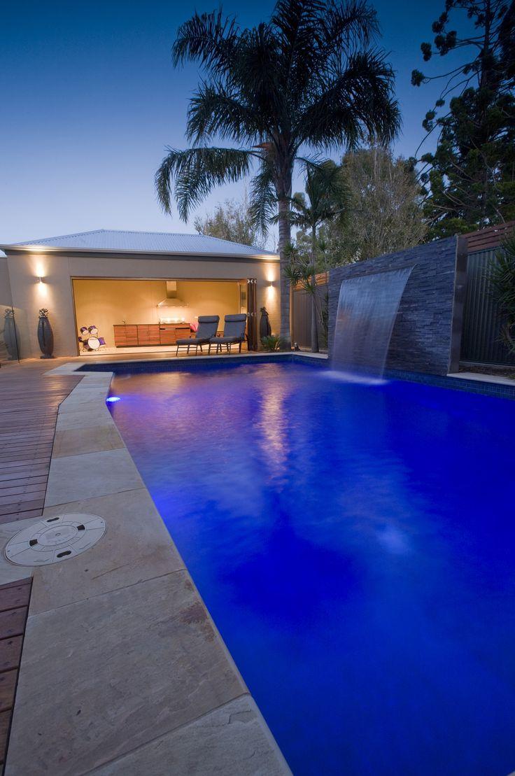 Backyard Pool At Night : Dark blue tiles at night  Backyard & Pool  Pinterest