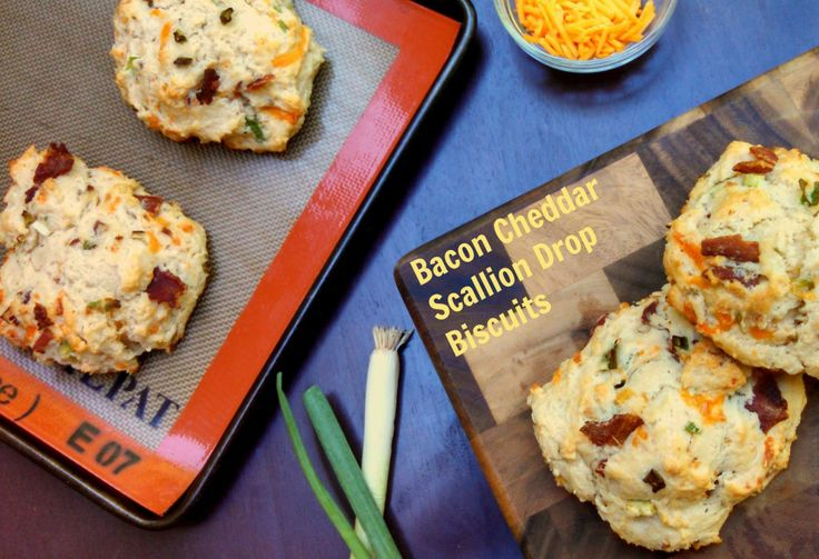 Bacon Cheddar Scallion Drop Biscuits ~ Pearls + Girls #savorysunday
