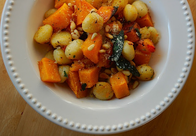 Gnocchi with Butternut Squash, Sage, and Pine Nuts.