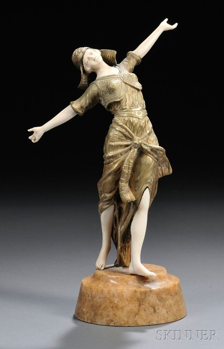 Georges Omerth (French, fl. 1895-1925) Gilt-bronze and Ivory Figure of a Dancer