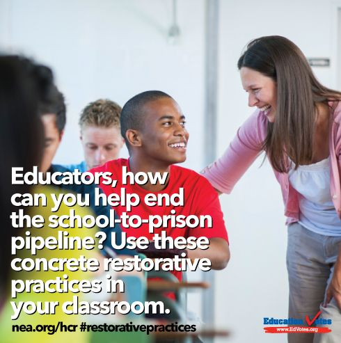 Educators, how can you help end the school-to-prison pipeline? Start with your classroom! #restorativepractice