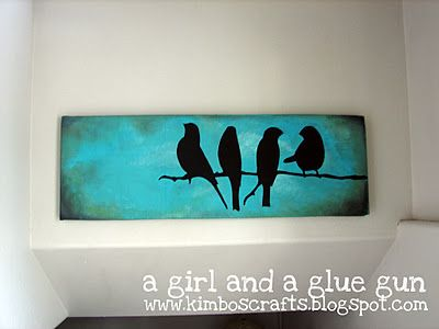 Paint entire pice black .... Place vinyl birds .... Cover in desired color and peel away vinyl !!