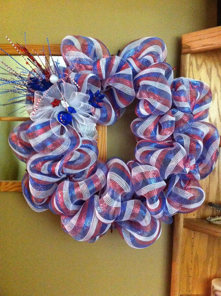 4th of july deco wreath