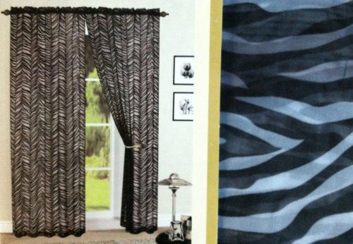 2 piece sheer print black white zebra skin voile panel by for Animal print window treatments