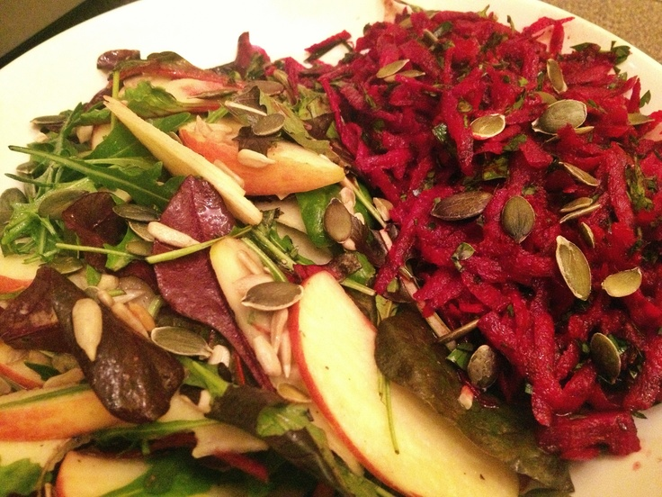 Waldorf style salad and beetroot slaw: Winter lettuce leaves, apple ...