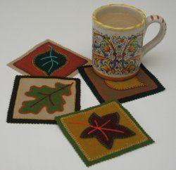 Free Pattern – Autumn Mug Mats in Wool Applique