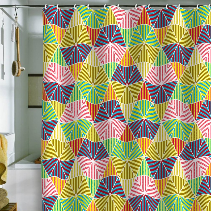 Raven Jumpo Stripey Triangles Shower Curtain