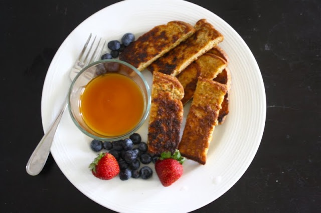 French Toast sticks - dip bread in mixture of peanut butter, protein ...