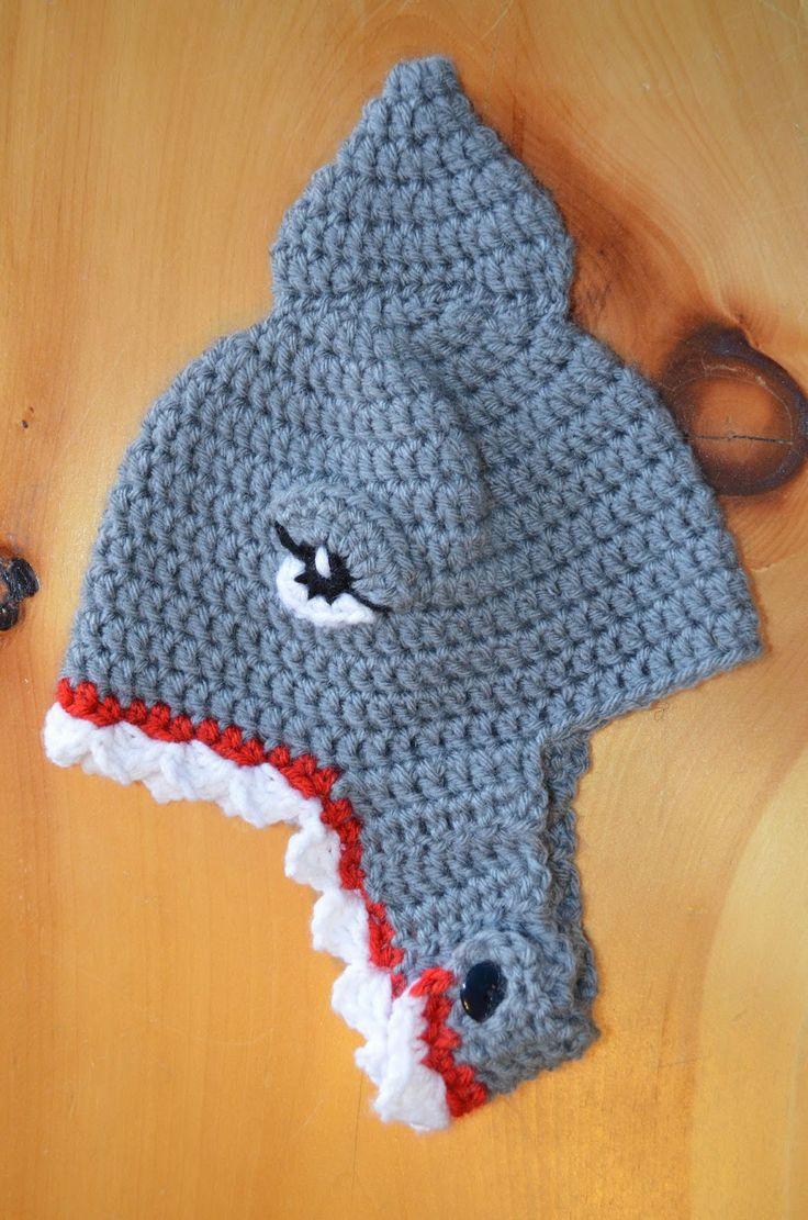shark hat crochet hats Pinterest