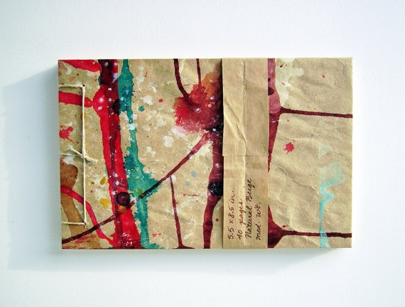 Purple Red and Blue Drips Sketchbook  Recycled by eclecticCosmos, $15.00