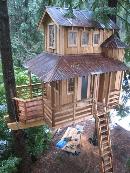 Sweet tin roof treehouse amazing house 39 s tree house for How to build a treehouse roof