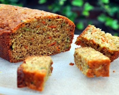 classic zucchini bread, with added color from grated carrot, added ...