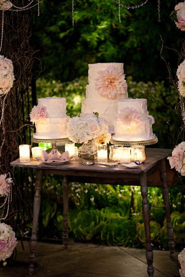 I love the idea of a cake table with multiple cakes!
