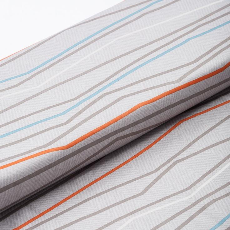 Modern 820 Thread Count Gray Orange Stripe Pattern Home Decor Fabric