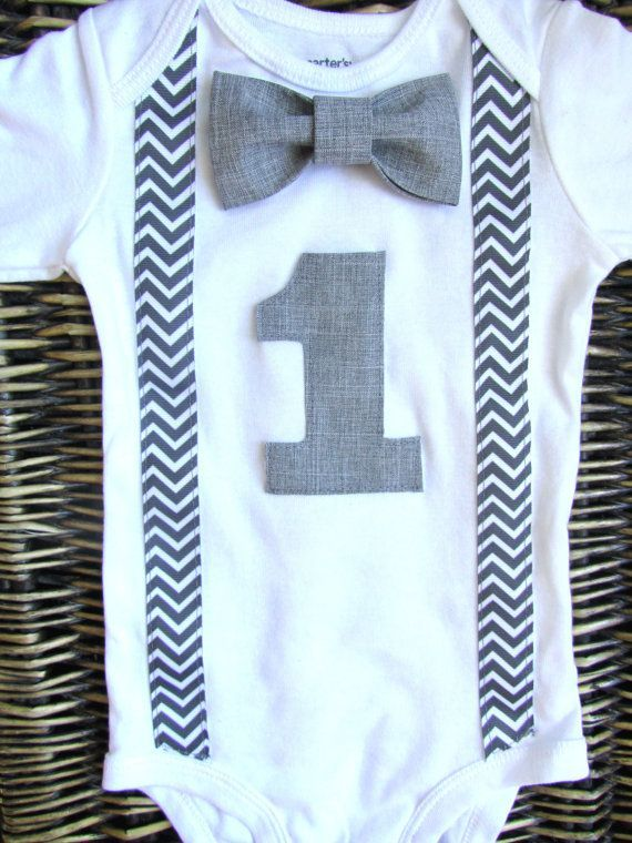 ... Birthday Outfit - Baby Boy Clothes - Grey Chevron Birthday Number