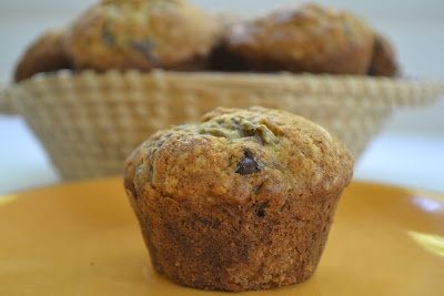 Roasted Banana Muffins with Dark Chocolate Chips