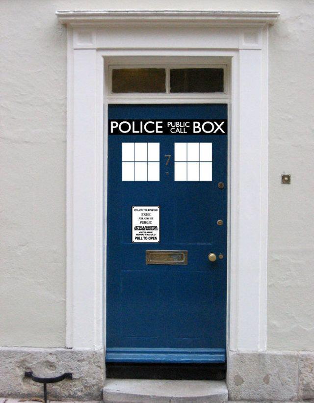 TARDIS Door Decals for Dr Who Fans
