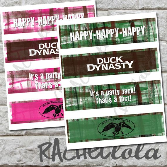 INSTANT DOWNLOAD - Duck Dynasty Water Bottle Labels, printable, DIY, Duck Commander, Cookout, Barbecue, Pink or Green on Etsy, $5.28 CAD