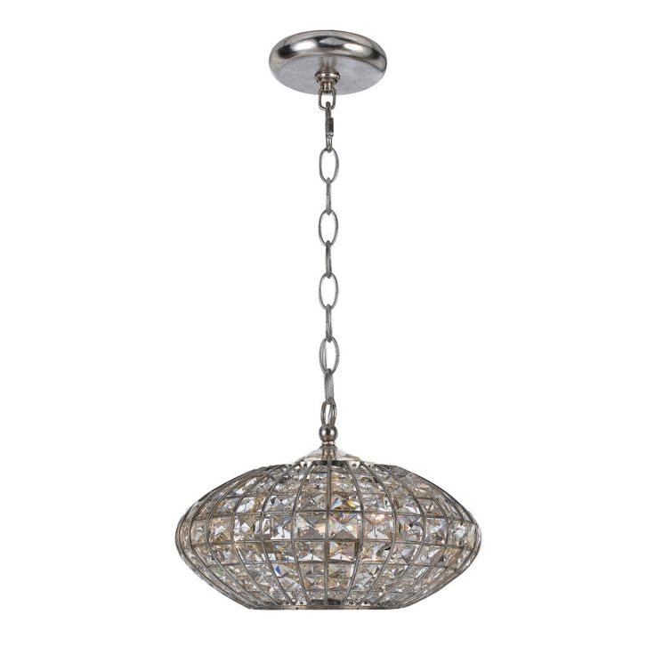 Transitional Antique Silver 3 Light Crystal Pendant Light
