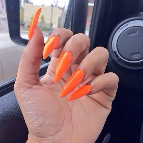 orange stiletto nails nails pinterest