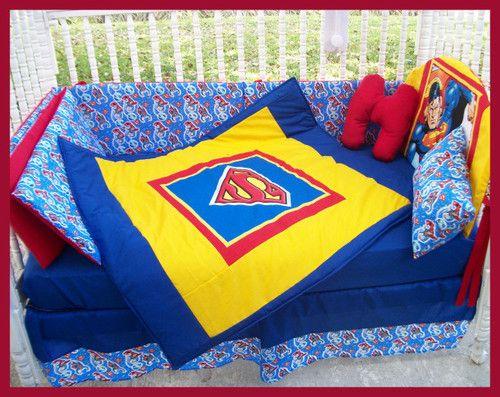 New baby crib bedding set m w superman clark kent fabric ebay