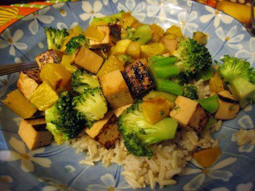 maple-miso glazed tofu with broccoli & butternut squash ...