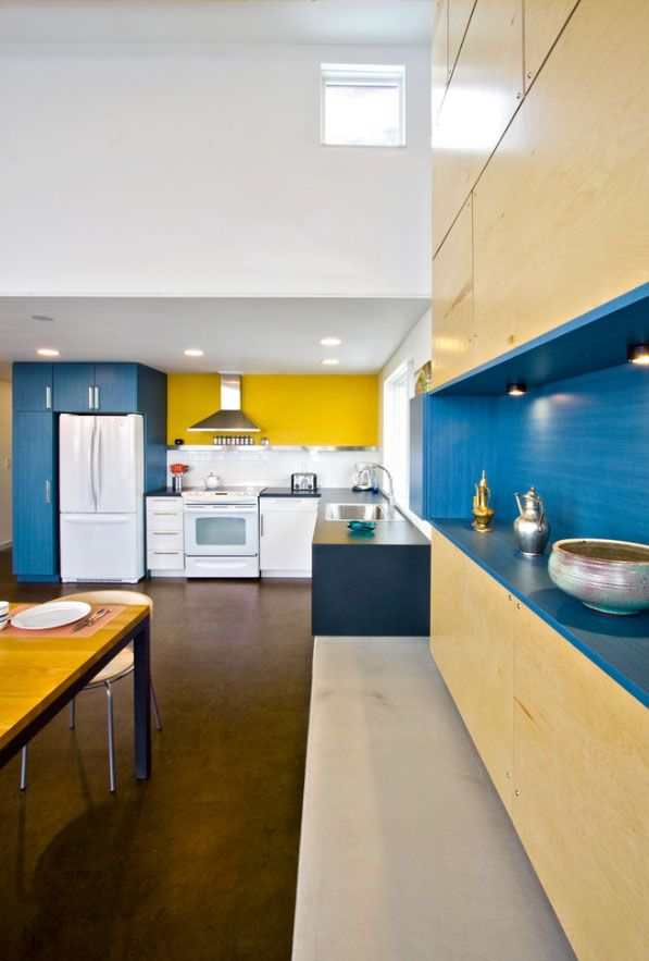 Blue and yellow kitchen so domestic pinterest for Yellow blue kitchen ideas