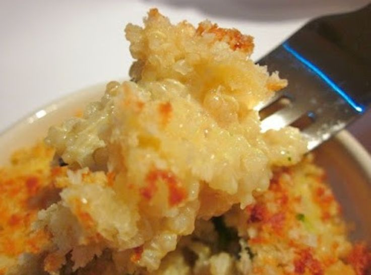 Cheesy Quinoa... like Mac and Cheese, but better for you. Add veggies for an extra nutritional punch.--thinking as a small side dish for the g.f. and diabetics out there