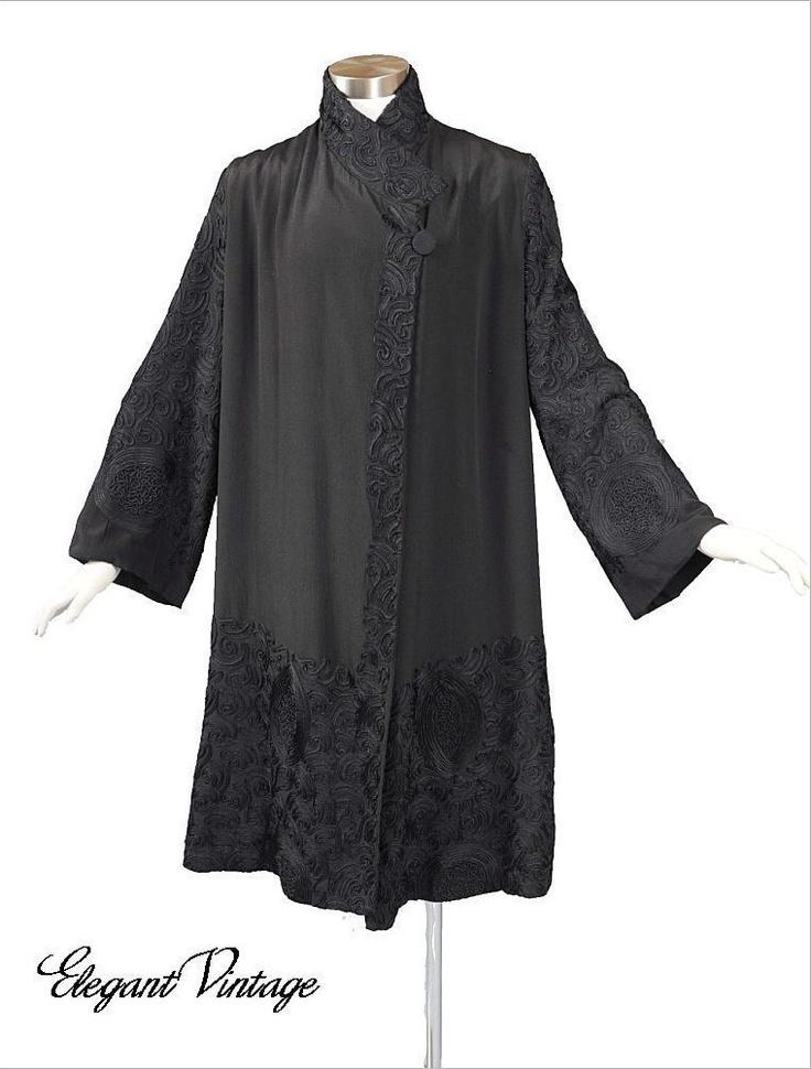 1920's Silk Coat Jacket with Soutache | Outfits | Pinterest