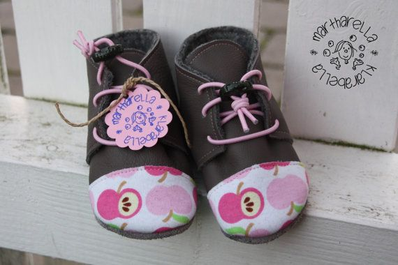 Gray pink apples Leather baby toddler Oxford shoes; elastic ties