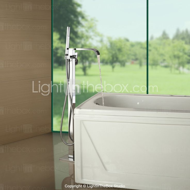 Solid Brass Floor Standing Tub Shower Faucet With Hand