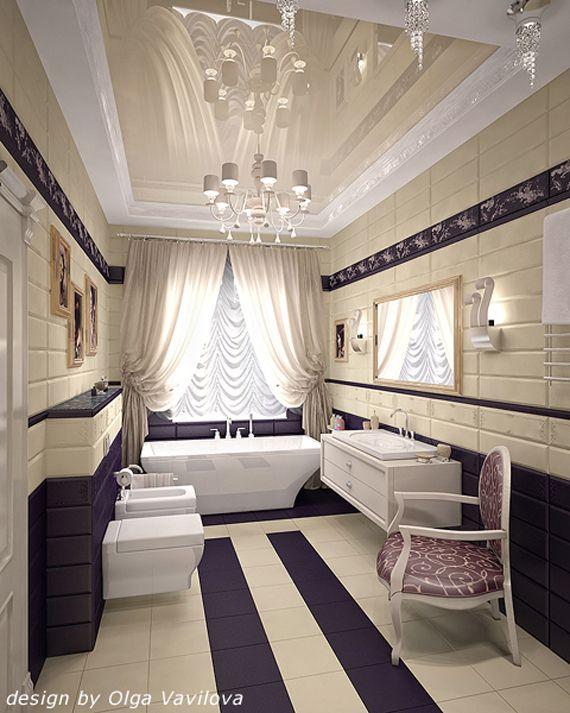 Art Deco Bathroom In Purple Cream And White CURTAIN