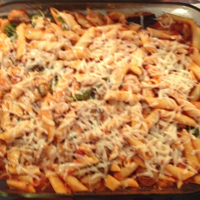 Penne pasta with broccoli eggplant onion leek shrimp chicken and ...