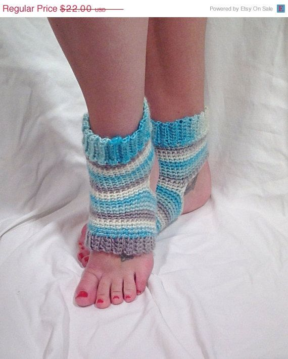Crochet Yoga Socks : Blue Striped Wool Crochet Yoga Socks by DapperCatDesigns on Etsy, $19 ...