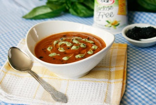 Indian-Spiced Tomato Lentil Soup with Basil Yogurt Drizzle