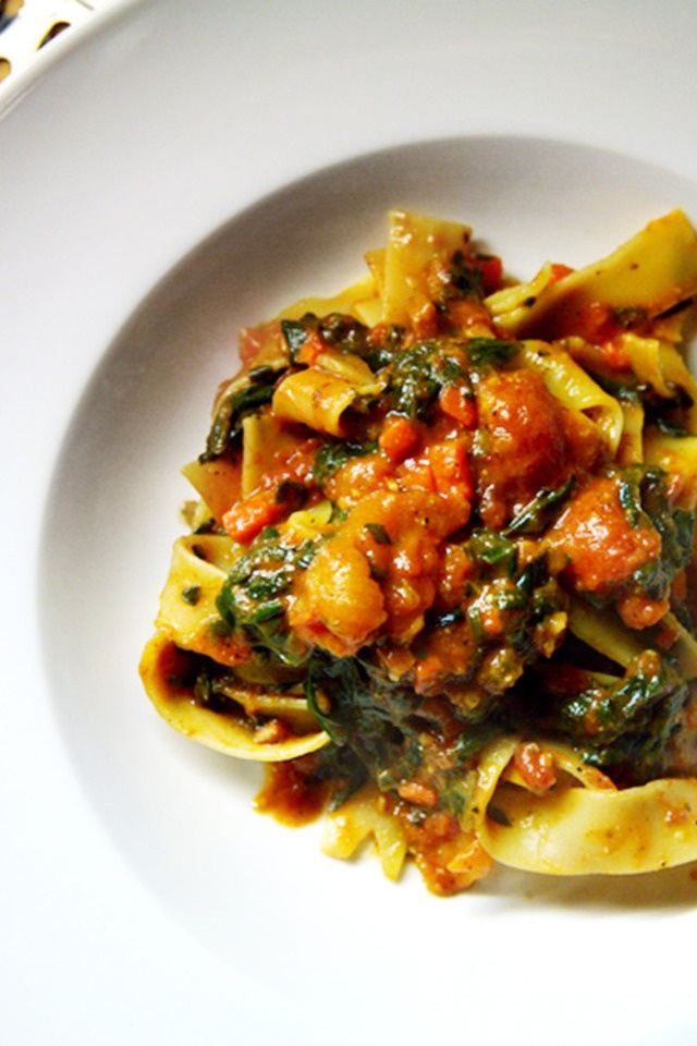 Pappardelle with Spinach Sauce