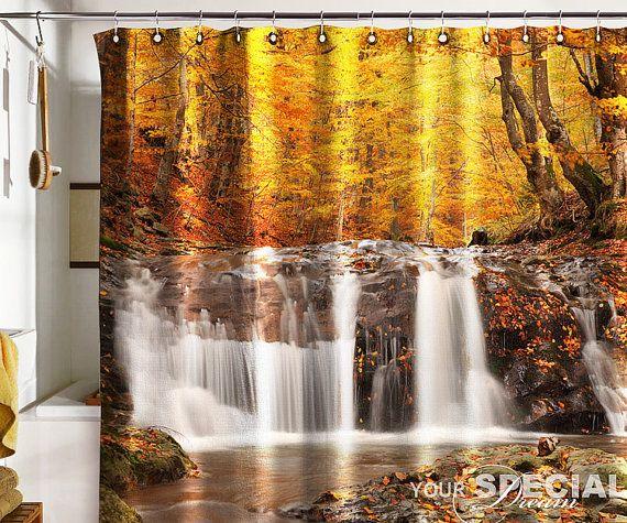 Bath Shower Curtain Gold Autumn Waterfall Cataract Fall
