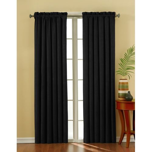 Curtains Ideas eclipse blackout curtain : Eclipse Suede Black 42 Inch X 63 Inch Blackout Window Curtain Panel ...