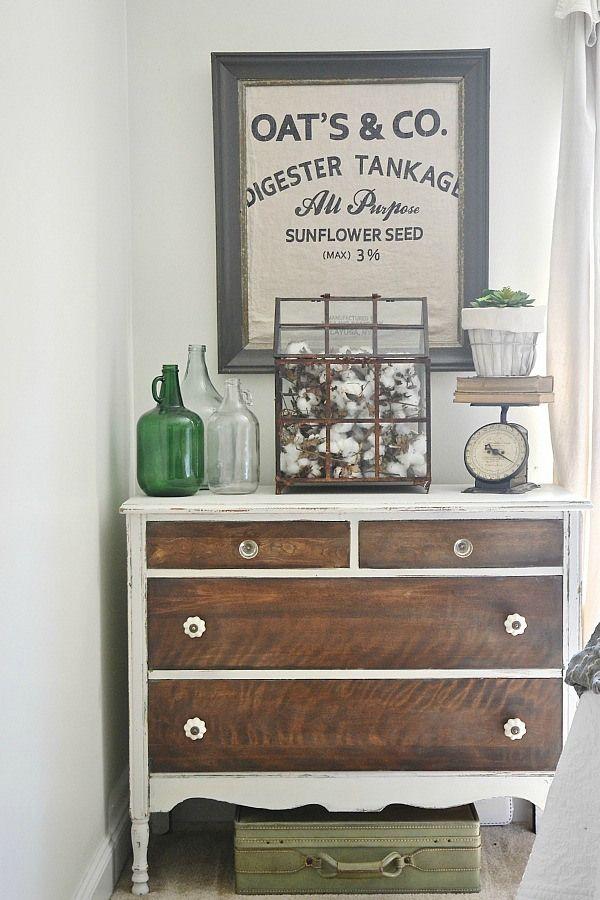 white dresser, wood drawers